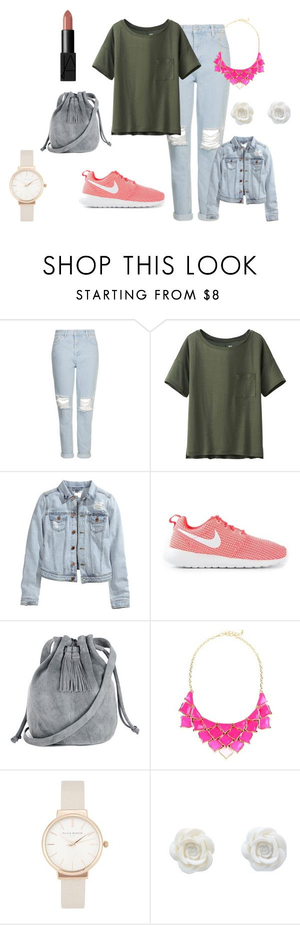 """wiosna 2015"" by dagusia112 on Polyvore featuring moda, Topshop, Uniqlo, H&M, NIKE, Warehouse, George J. Love, Olivia Burton i NARS Cosmetics"