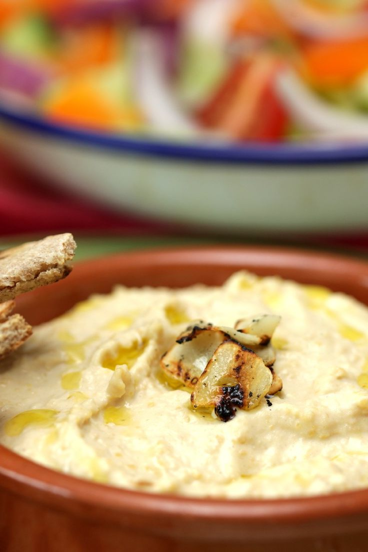 Creamy Roasted Garlic Hummus- Yep this is the perfect basic hummus ...