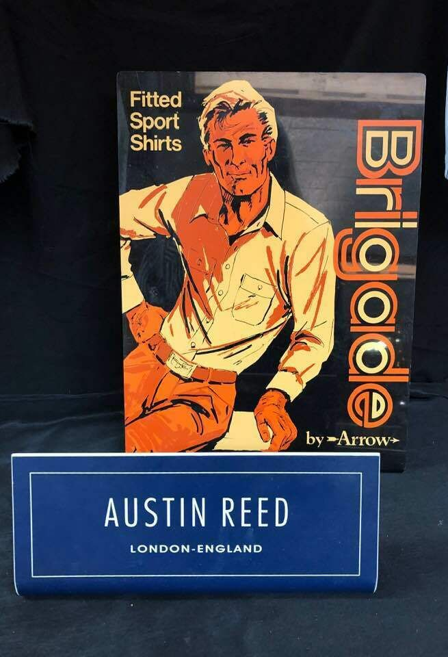 2 Vintage Men Clothing Shop Signs Brigade By Arrow Austin Reed London England Arrow Austin Reed Vintage Men Shop Signs