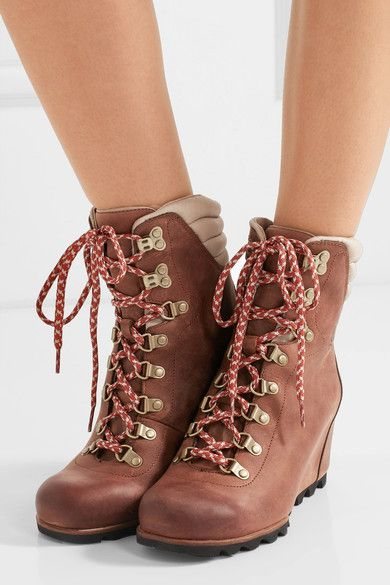 Concealed wedge measures approximately 80mm/ 3 inches with a 10mm/ 0.5 inches platform Brown and beige leather Lace-up front Large to size. See Size & Fit notes.