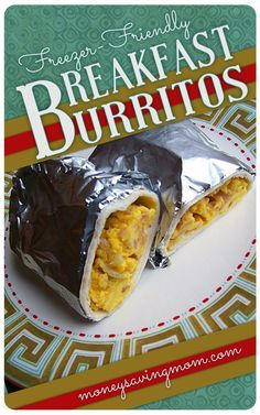 Freezer Friendly Breakfast Burritos!  These Homemade Breakfast Burritos are SO delicious and much healthier than getting them from the McDonald's drive-thru! Plus, you can make a big batch of them and stick them in the freezer!