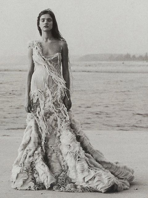 "Natalia Vodianova in Alexander McQueen's Shipwreck (Oyster) Dress - Vogue ""Age of Innocence"""
