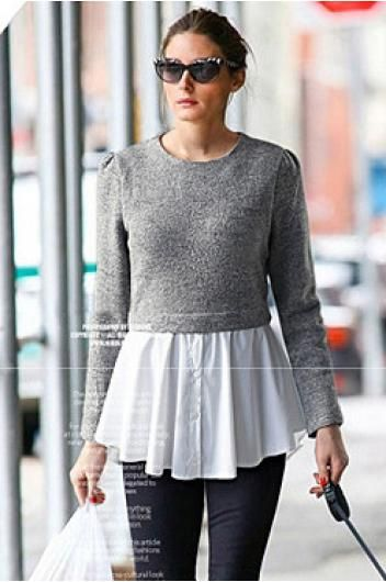 Women's round neck long-sleeved sweater//  add men's shirt to too short a sweater - inspiration