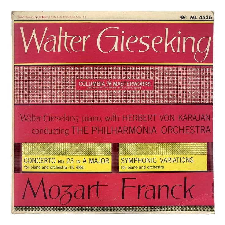 In 1952 Ronald Clyne was hired by Monogram Art a Studios as a freelancer to create seven record covers for Columbia's series of Walter Gieseking performances. Each of these covers follow the same format with calligraphic titles that harken back to Clyne's work for Arkham House in the 1940s and grids of pattern that would appear throughout his work with Columbia. After designing these 7 pieces Clyne came out from under the Monogram umbrella to contract directly with Columbia on over 100 more…