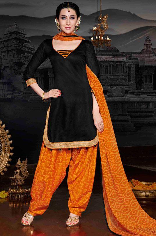 USD 30.25 Karisma Kapoor Black Cotton Satin Punjabi Suit 47616