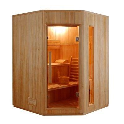Sauna finlandese angolare 3 posti angolare in abete canadese modello Ten 150 x 150 cm