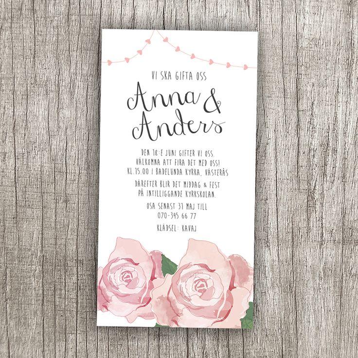 Anna Göran Design - Rosgirland #inbjudan rosor #bröllopsinbjudan #inbjudningskort