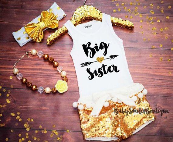 Big Sister Shirt Little Sister Tank Top Sibling Shirts Girl Shirts Baby Announcement Shirt Pregnancy Announcement Gold Glitter Shirt 186