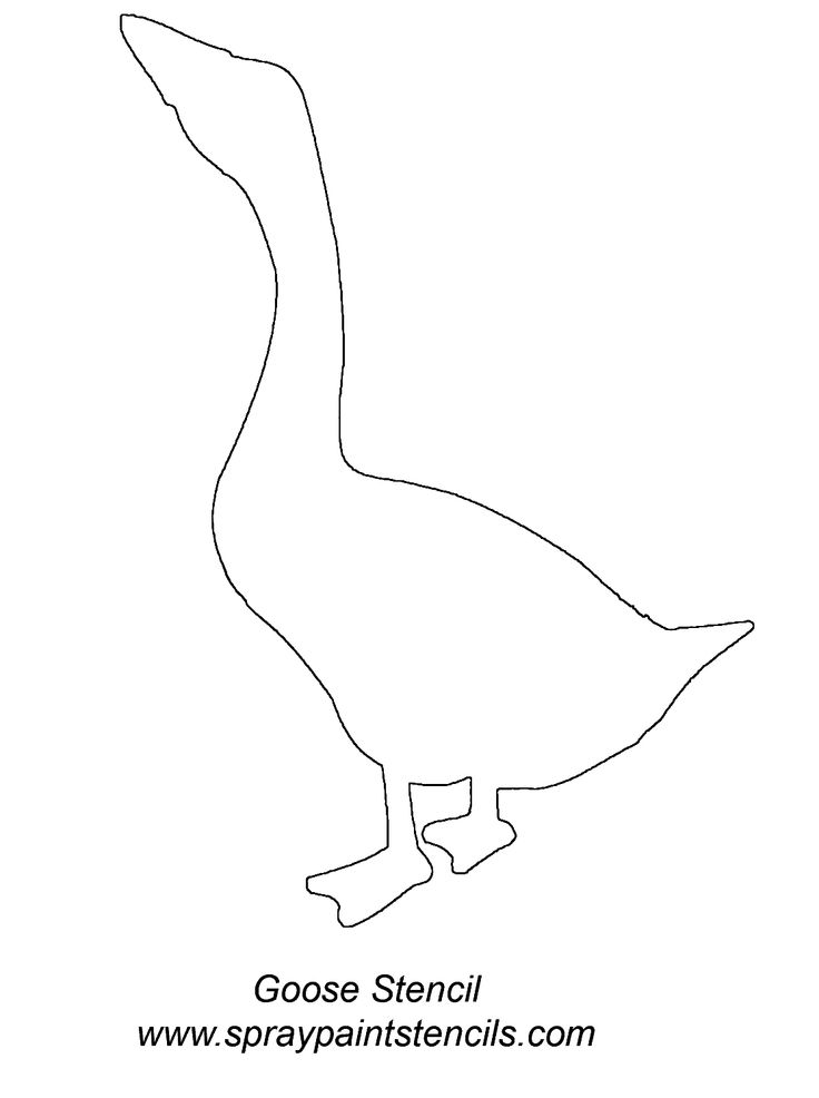Goose Silhouette Template Stencil outline