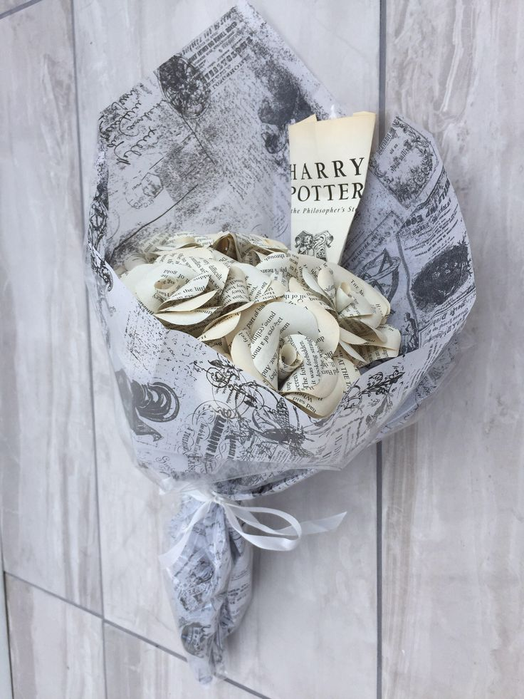 A personal favourite from my Etsy shop https://www.etsy.com/uk/listing/502959122/harry-potter-book-page-paper-roses-bunch