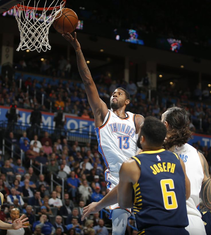 Oklahoma City's Paul George (13) goes to the basket during an NBA basketball game between the Oklahoma City Thunder and the Indiana Pacers at Chesapeake Energy Arena in Oklahoma City, Wednesday, Oct. 25, 2017. The Thunder won 114-96. Photo by Bryan Terry, The Oklahoman