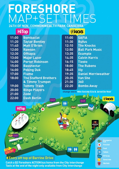 Foreshore map and set times are out! Time to start planning your day!  Do you know how you're getting to Foreshore next Saturday? Check out our page on how to ge to Commonwealth Park here  Only a few tickets left! Buy your ticket here www.foreshorefestival.com.au