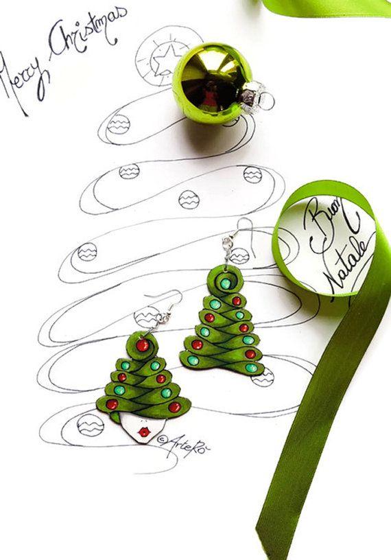 Christmas Earrings  Christmas tree pendant  Christmas by TheRollyS