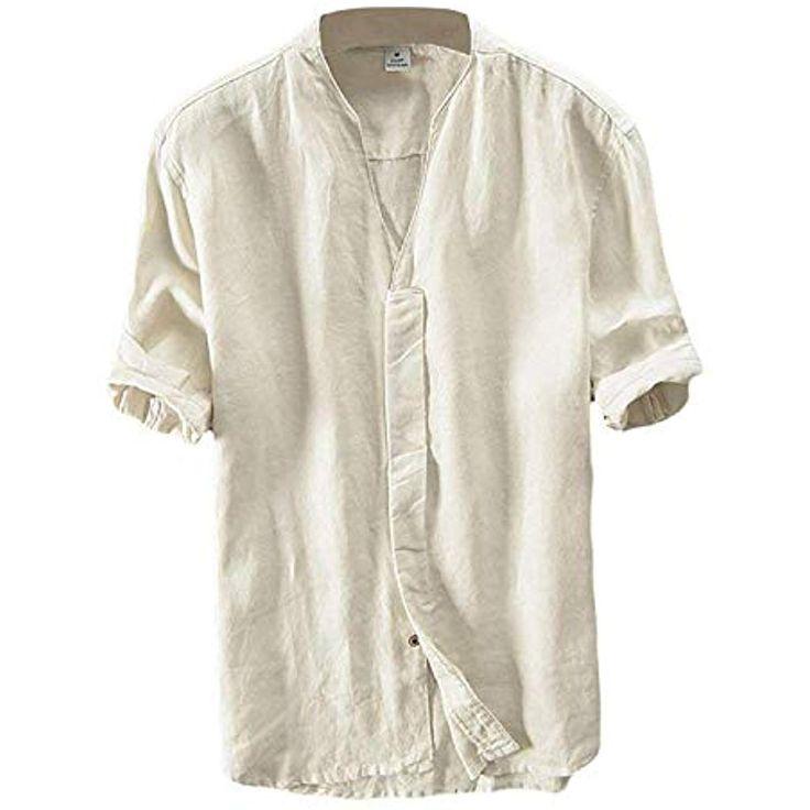 Leinen Hemd Herren Kurzarm Sommerhemd V-Ausschnitt Freizeit Hemd Regular Fit Kra…