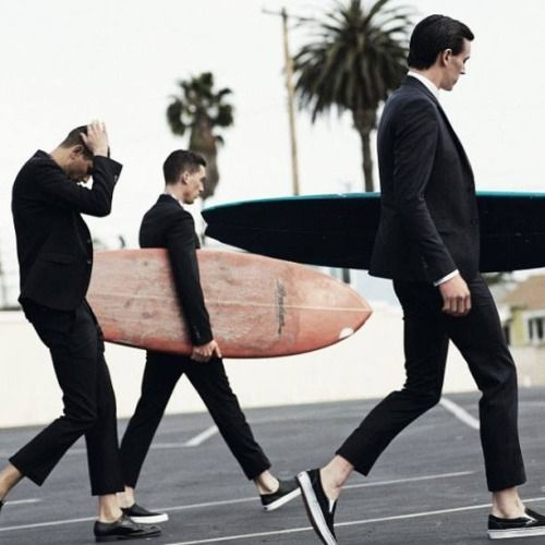Beach bums clean up nice. These surfers bring a whole new meaning to wetsuit.