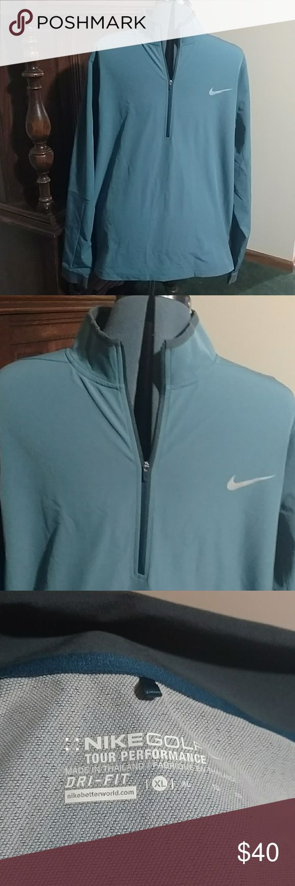 Blue XL Men's Nike Golf Water Resistant Jacket *P* Lightweight, half zip jacket. This XL jacket was worn only once and is in New condition. Quarter zip factor gives it a handsome touch. Goes great over a warm sweater or as a light duty protective layer on a warm rainy day. It's still breathable while repelling drizzle and light rain. This is a premium item Nike Jackets & Coats Performance Jackets
