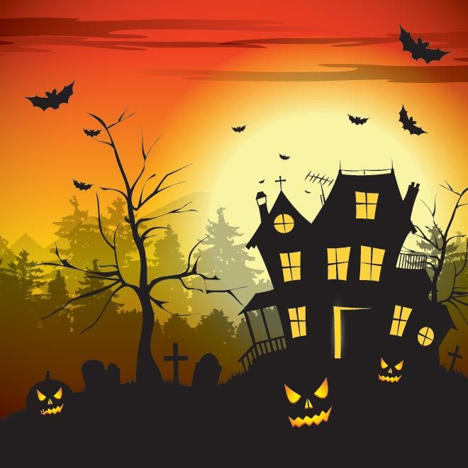 vector hunted scary house in graveyard with old tree bats are flying evening horror scene happy halloween day greeting card and wallpaper de - Halloween Which Day