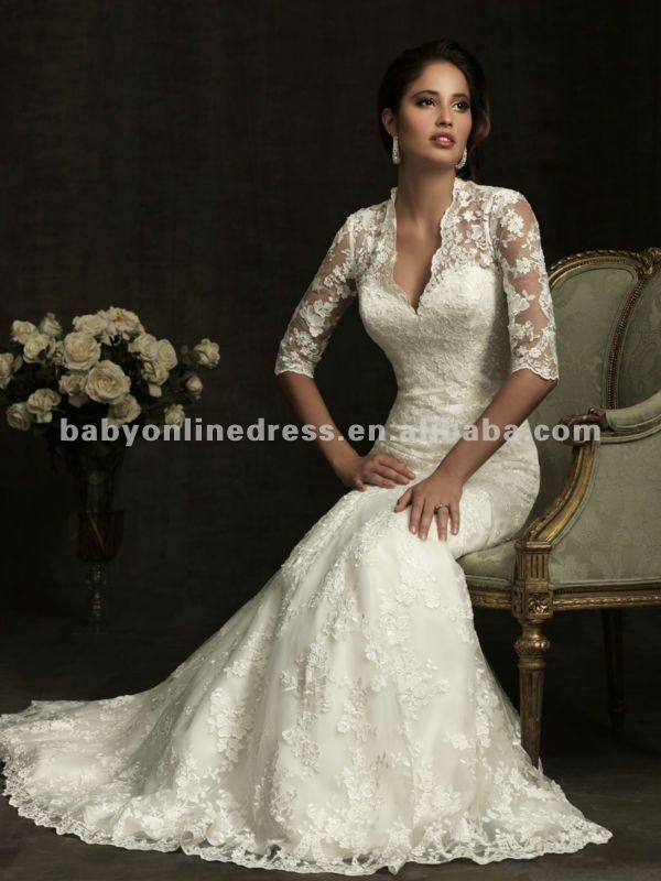 2012 caliente venta elegante v - cuello de encaje manga larga vestidos de novia sirena con el botton de nuevo-Vestidos de novia -Identificac...