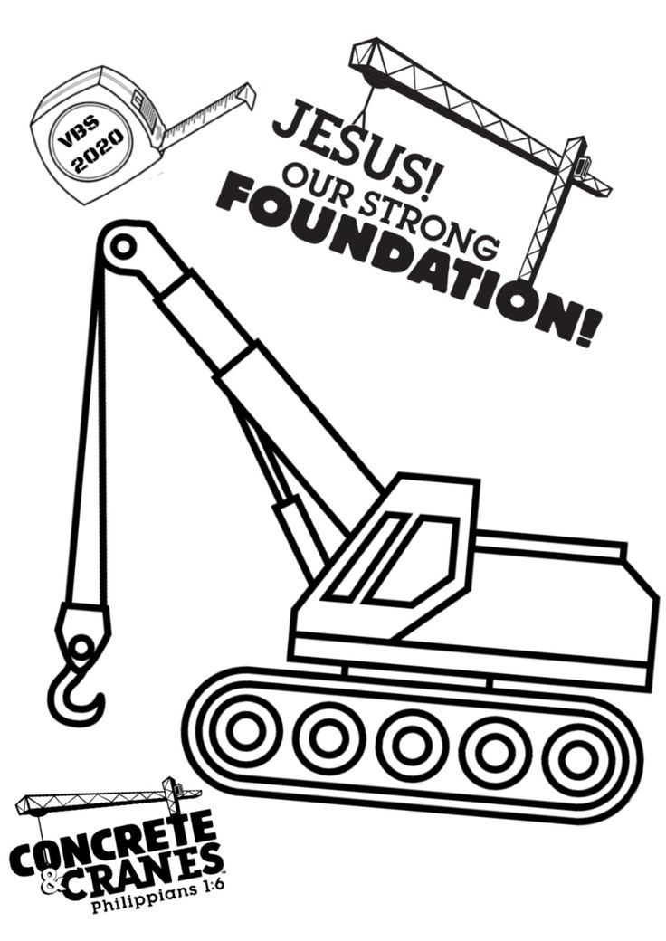 A custom Concrete and Cranes VBS coloring page, great to