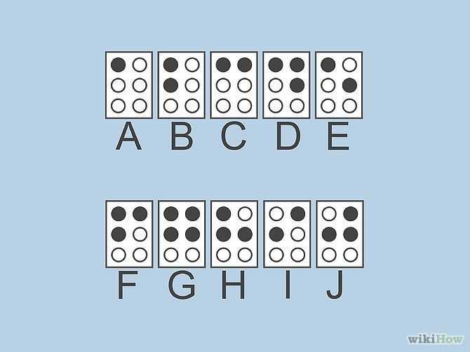 Read Braille Step 2.   Learn the first 10 letters (A-J) of the alphabet. These letters use only the the top 4 dots of the 6 in the cell.