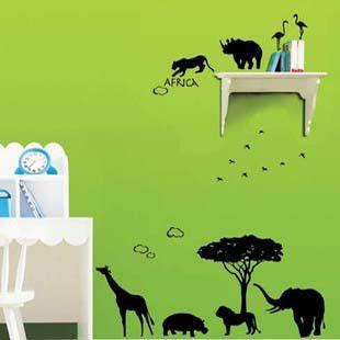 Сафари африканских животных детская комната стены наклейки гостиной наклейки на стены Vnly Romovable украшения дома