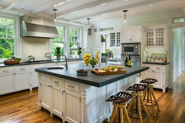 soapstone countertops Kitchen Traditional with appliancesislandflooringcabinetrydet dark gray countertop eclectic bar stool