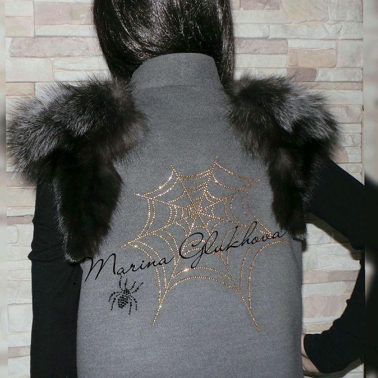 """Купить Жилет """"Паутинка """"Серая"""" - серый, жилет, пальто без рукавов, в тренде, стильная одежда"""