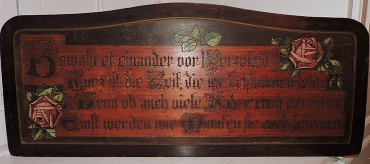 Antique Old German House Blessing Pyrography Hand Painted