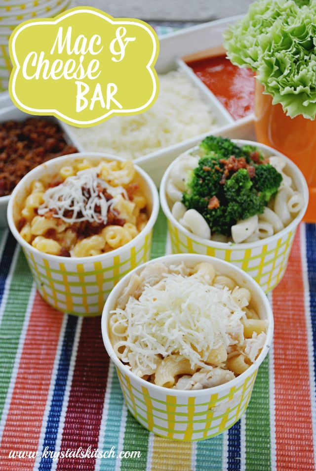 Create a simple mac and cheese bar and let guests customize their cheesy dinner at your next party! Bonus: this cost less than $10! #shop #cbias #1dollardeals