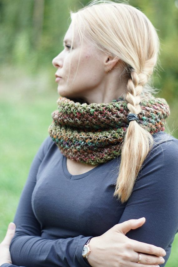 Hand knitted chunky women cowl autumn trends rustic by SockClub, $99.00