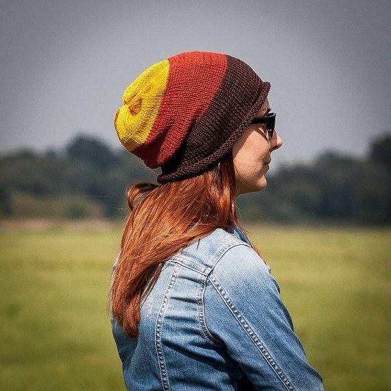 Brown Orange Yelloww Striped Slouchy Beanie Hat / by RUKAMIshop