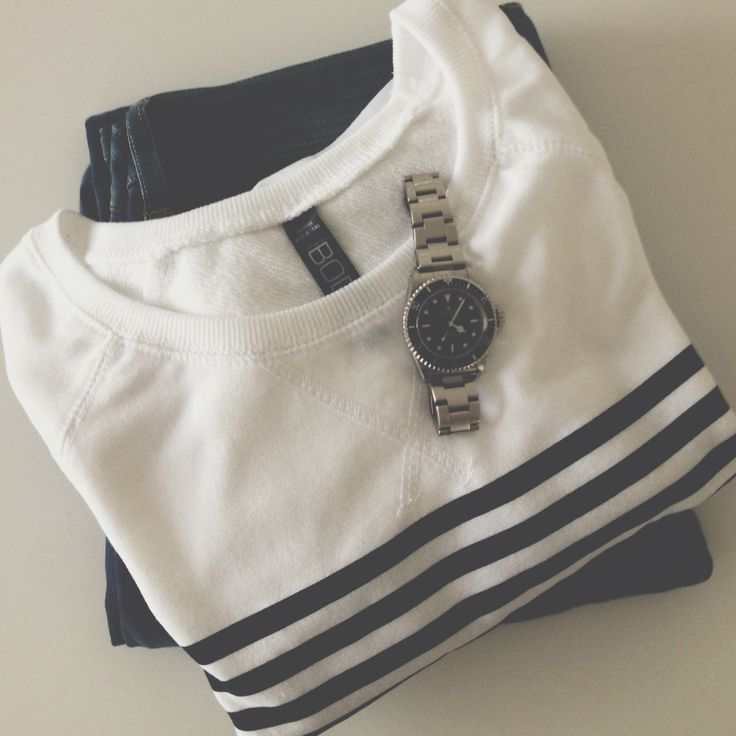 Weekend uniform: denim, nautical stripes, Rolex // Jacqui Barhouch