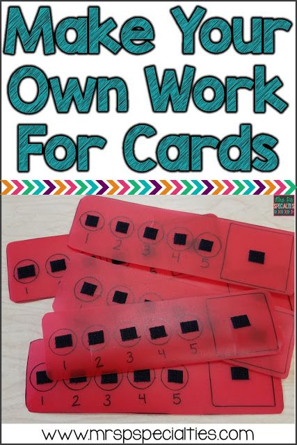 Make your own work for cards for little to no money! Here is an idea for making durable token economy strips with things around your classroom. This idea is ideal for special education classrooms especially those designed for autism.