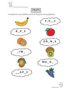 Free Fun Worksheets For Kids: Free Printable Fun Worksheet : EVS - Fruits