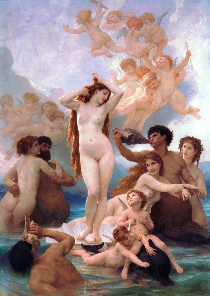 O nascimento de Vênus (1879). William Bouguereau (1825 - 1905). óleo sobre tela (3,00m x 2,15m). Museu d'Orsay, Paris, França. Livro: FARTHING, Stephen. This is Art. Londres: Quintessence, 2010.
