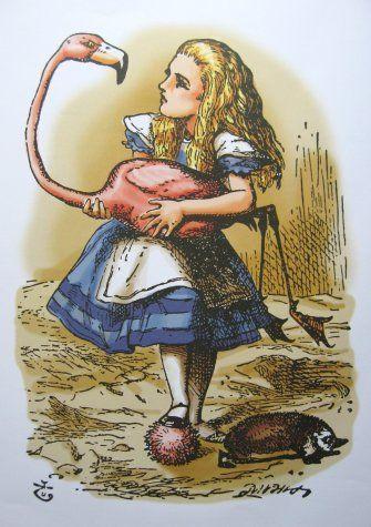 ALICE AND FLAMINGO CROQUET colour print by Sir John Tenniel