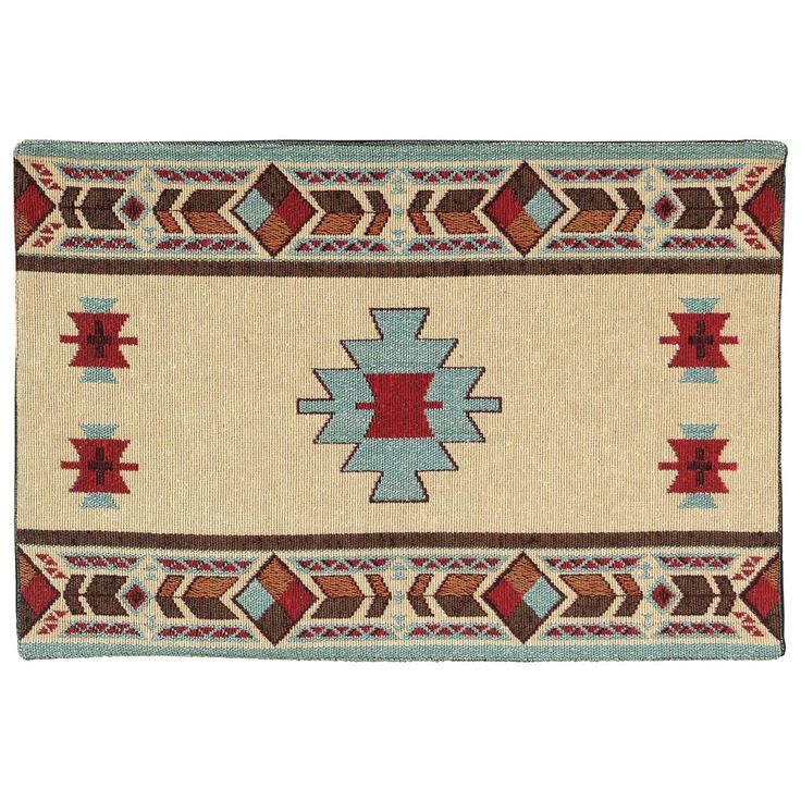 Hopi Placemat   A Lone Star Western Decor Exclusive   Brighten Your  Southwest Table With The Cotton/poly Tapestry Hopi Placemat In Turquoise,  Red, ...
