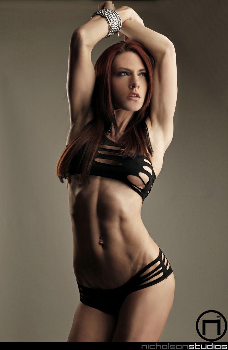 Allison moyer in red bikini flexing muscle 7