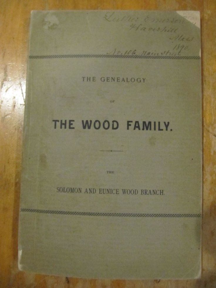 RARE THE GENEALOGY OF THE WOOD FAMILY E.HENRY WOOD CLINTON MA 1890 1ST EDITION