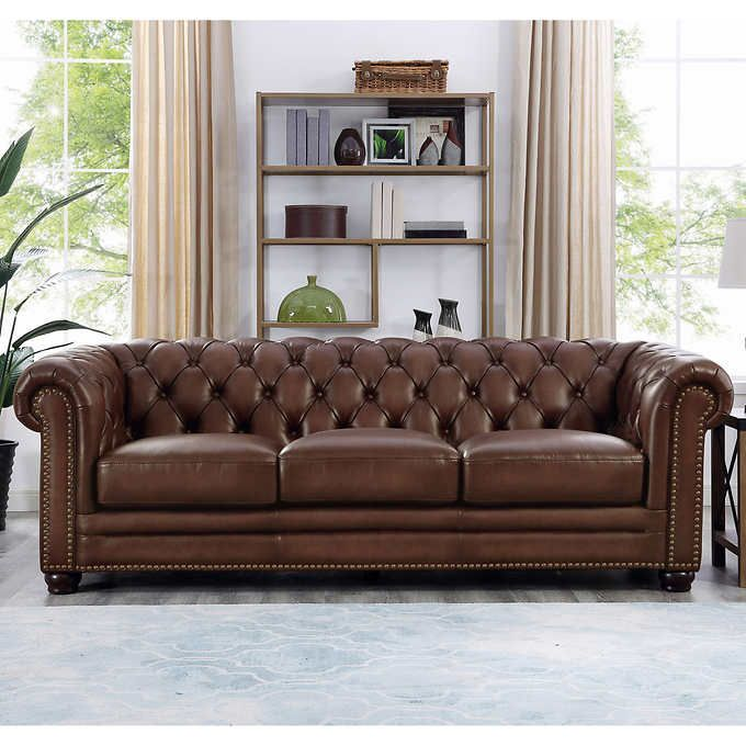 Allington Top Grain Leather Sofa Brown In 2020 Top Grain Leather Sofa Brown Leather Sofa Leather Sofa Living Room