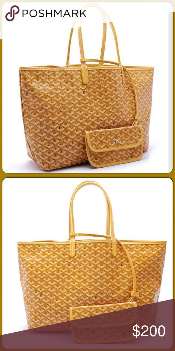 Goyard Chevron PM TOTE with Wallet Mustard $200 Inspired Goyard Tote with matching wallet for $200 compared to their original Tote price of $2000 Goyard Bags Totes