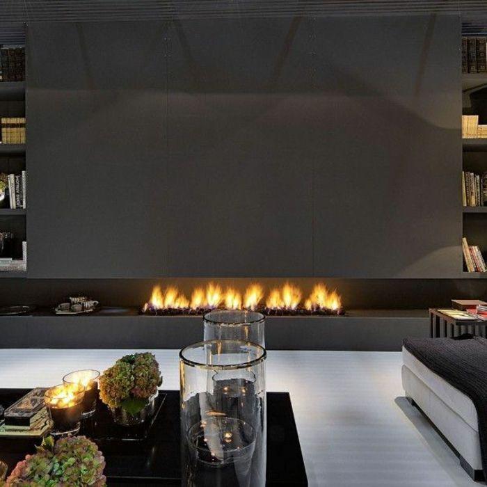 Kamin Design Lang Offene Feuerstelle Wohnzimmer