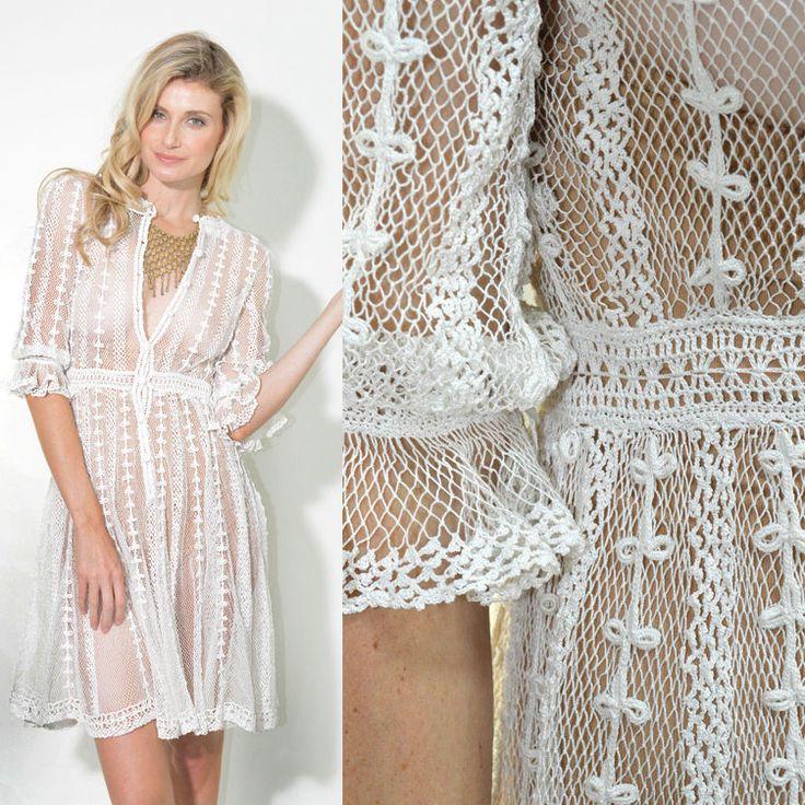 VTG Sheer Crochet White Cut out Wedding Swing Boho
