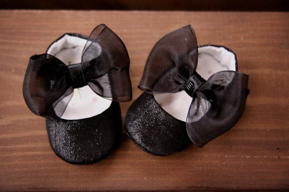 Baby shoes black sparkly ballerina slippers with big bow, sparkly ballet flats, special event black shiny mary janes, wedding shoes