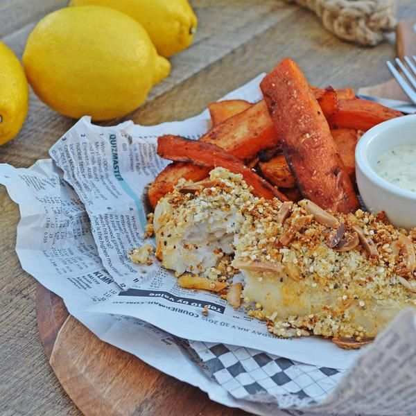 YouFoodz | Homemade Fish & Chips $9.95 | Cod topped with a superseed crust of quinoa, chia seeds, sesame seeds, slivered almond and sided with handcut carrot, potato & sweet potato wedges | #Youfoodz #HomeDelivery #YoullNeverEatFrozenAgain
