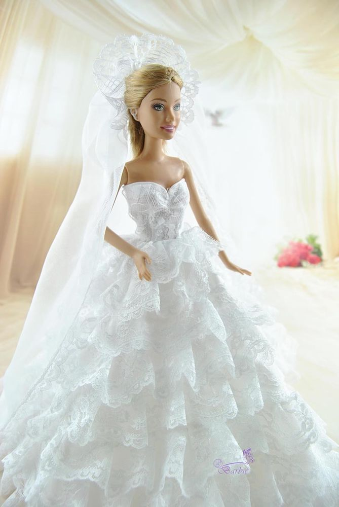 Luxury Handmade Bridal Veil Wedding Dress Princess Gown Clothes For Barbie Dolls #other