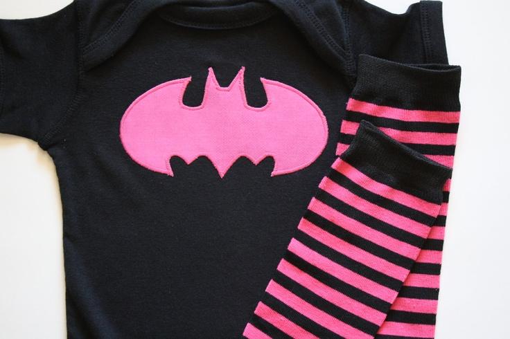 Batman Onesie Tshirt Pink or Yellow Applique Hot Pink and Black or Yellow Striped Stripes Leg Warmers Leggings Halloween Set. $19.00, via Etsy.