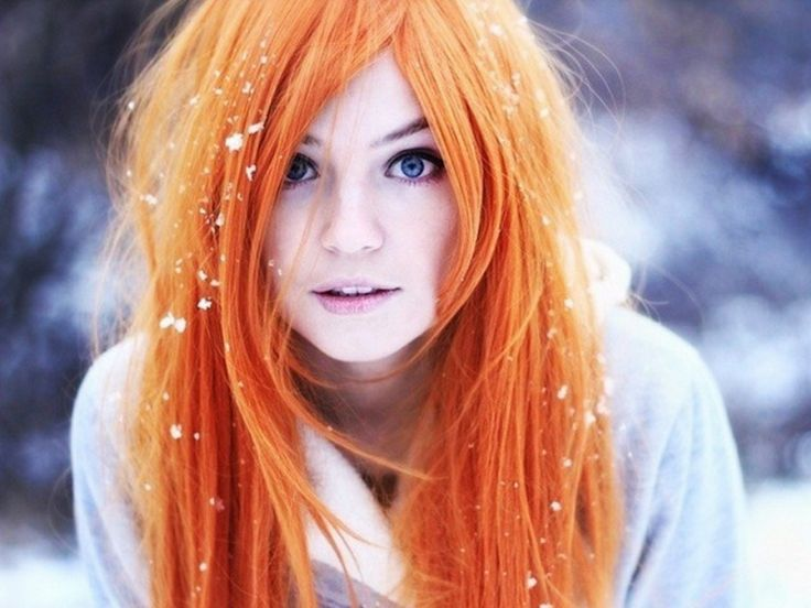 Women Winter Snow Cosplay Blue Eyes Redheads People Inoue