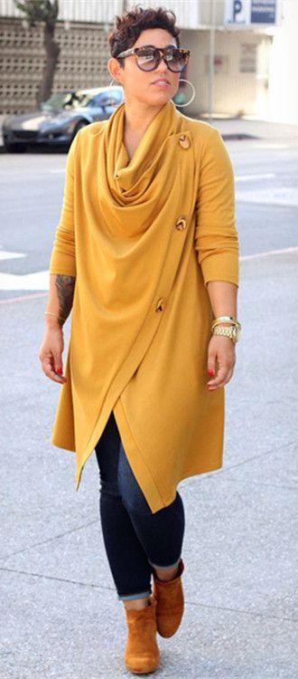 Buttoned Irregular Coat