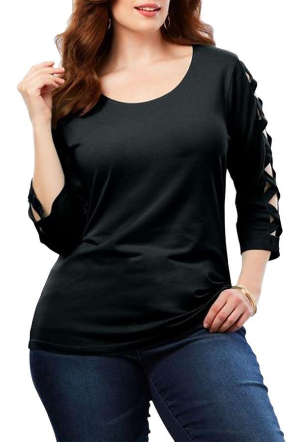 d6ffcfbd7dc Haut Femme Grande Taille Noire Manches 3 4 Treillis Pas Cher www.modebuy.